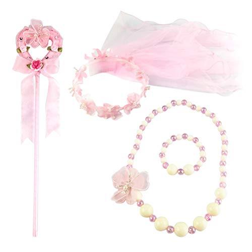 Amosfun 4pcs Delicado Bebé Niñas Velo Corona Princesa Angel Stick Collar Conjunto de Conjunto de Hada Disfraces de Carnaval Decoración de Fiesta de Niños (Rosa)