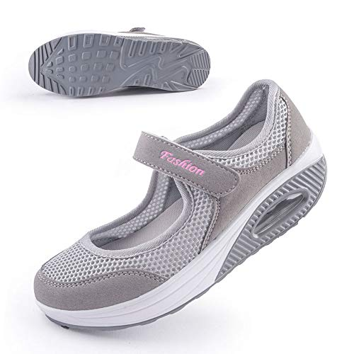 Women's Comfort Working Nurse Shoes Adjustable Breathable Wedges Slip-on Walking Sneaker Fitness Casual Shoes Mary Jane Sneaker41#,Gray
