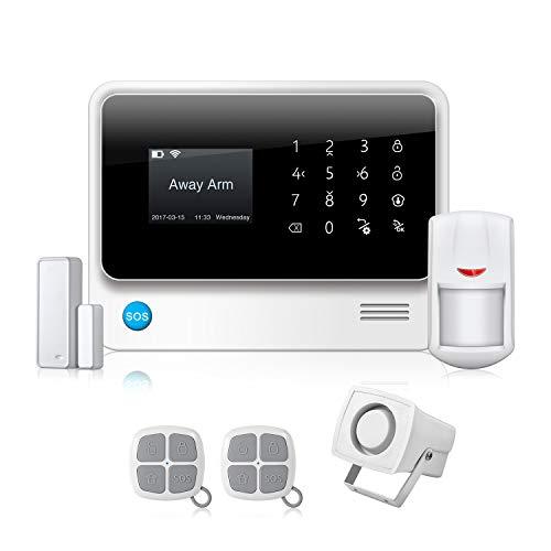 FUERS G90B-P Sistema Alarma Hogar 3G gsm/WiFi/GPRS por App/Call/SMS, Kit Alarma Casa Seguridad DIY con Detector Movimiento/Sensor de Alarma Puerta Inalámbrico para Tienda/Garaje/Oficina/Autocaravana