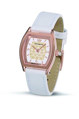 Philip Watch Tradition R8251108545 - Reloj de Mujer de Cuarzo, Correa de Piel Color Blanco