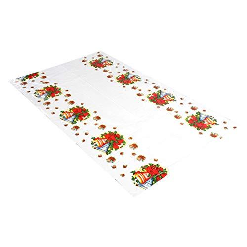 Garneck Mantel Navidad Cubierta De Tabla del PVC Desechable Decoración Rectangular Casa Fiesta De Navidad (Campanas)