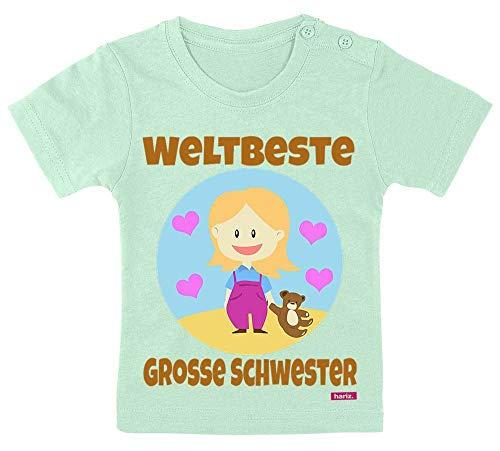 HARIZ Baby T-Shirt Weltbeste Grosse Schwester Kind Mit Hund Geburtstag Schwanger Plus Geschenkkarte Zahnpasta Grün 9-15 Monate / 70-79cm