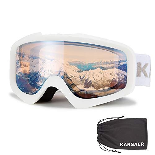 Karsaer Gafas de esquí, Gafas de Snowboard, antiniebla, 100% protección UV, Lentes cilíndricas de Doble Capa, OTG, antiniebla y Casco compatibles con Gafas de Nieve para Hombres y Mujeres