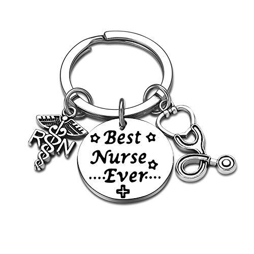 Nurse Gifts for Women Nursing Jewelry RN Nurse Keychain Thank You Gifts Nurse Appreciation Gift for Birthday Graduation Christmas (Best Nurse Ever)
