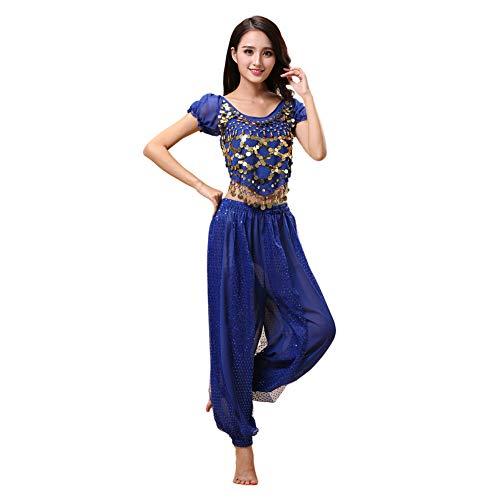 Haodasi Bauchtanz Kostüm für Damen Tanzen Top + Laterne Hosen Professionel Karneval Tänzer Outfit Suit