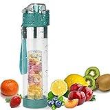 FCSDETAIL Bottiglie di Acqua infusore Frutta con Filtro 700ml, Spazzola Extra per Bottiglia, Tappo a...