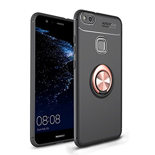 Shinyzone für Huawei P10 Lite Hülle,Schwarz und Roségold mit 360 Grad drehbarer Ring Ständer,Ultra Dünn Weich TPU Stoßfest Schutzhülle Kompatibel mit Magnetischer Autohalterung
