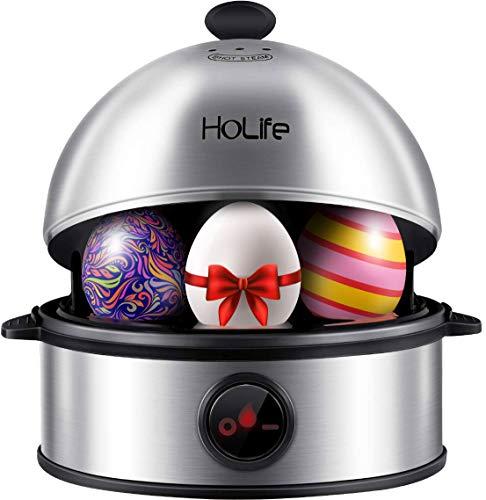 Eierkocher, Holife Edelstahl Eierkocher 7 Eier Testsieger mit Automatische Abschaltung Eierkocher mit 2 gedämpfte Eier/Härtegradeinstellung/Überhitzungsschutz/Messbecher mit Eipick, BPA-frei
