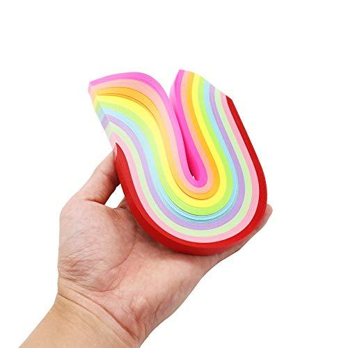 Quilling-Papierstreifen,Papier Quilling, 500 Stück 26 x 1 cm fluoreszierende Sterne Papierstreifen DIY Basteln niedlich Faltset Lucky Origami Papier Dekoration,