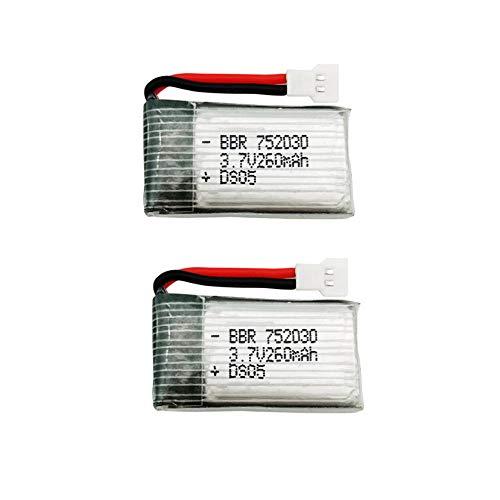 PRsellings 3.7V 260mAh Drone Lipo Batería para RC batería H8 MiniH8 RC Quadcopter Piezas 3.7v batería lipo 2pcs-A