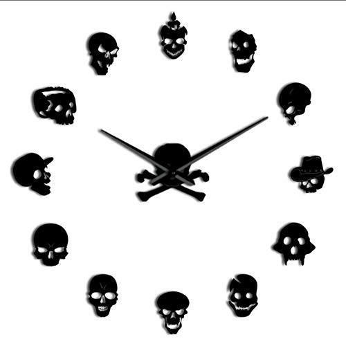 LAYYYQX Various Skull Heads Decoratieve sticker Wall Clock Dead Skeleton Cranium Modern Wall Clock
