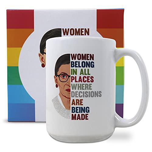 Ruth Bader Ginsburg Design Ceramic Coffee Mug, Tea Mug, 15oz. Feminist Mug For Women Lawyers, ruth bader ginsburg gifts, mugs for women, coffee mugs for women