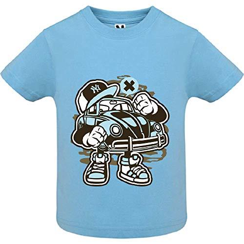 LookMyKase T-Shirt - Street Beetle - Bébé Garçon - Bleu - 6mois