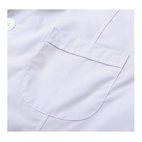 Kurzarm lange abschnitt weiß kittel ärzte krankenschwestern bekleidung arbeitskleidung arbeit (damen, M) - 4