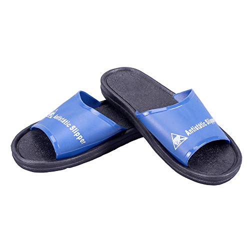 Midanggu Man ESD Work Clean Room Lab Breathable Deodorant Anti-Static Anti-Skid Slippers,Comfort Slide Sandal,The First Choice Slippers for The Workshop. (Numeric_8_Point_5) Black
