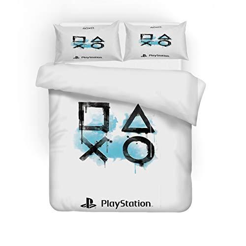 ZJJIAM Playstation - Juego de cama infantil (135 x 200 cm, 1 funda nórdica y 2 fundas de almohada), diseño de videoconos
