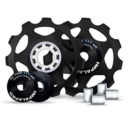IMPALAPRO Bike Set 2 roldanas, Ruedas o poleas Jockey (11T) Cambio o desviador Trasero Aluminio CNC ultraligeras y Resistentes con rodamiento cerámica para Bici montaña (MTB) o Carretera (Negro)