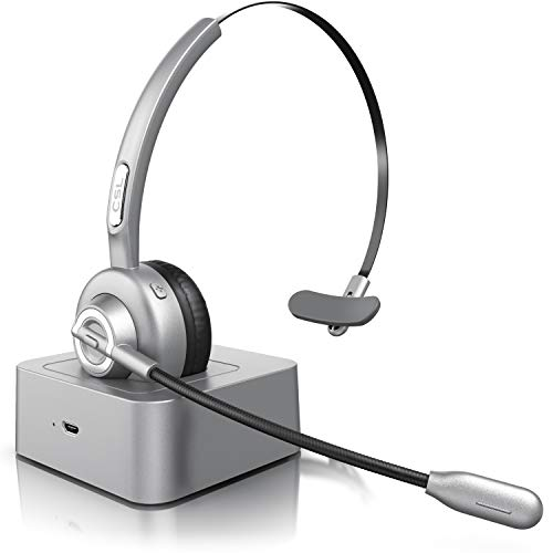 CSL - Auriculares inalámbricos Bluetooth con micrófono - Mono Tipo Diadema - Manos Libres - Puerto de Carga USB - Cancelación de Ruido - Compatible con PC Tableta Smartphone - Ideal para la Oficina