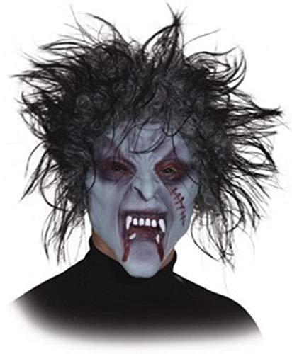 narrenkiste O40410 - Mscara de media cara para mujer, hombre, Halloween, diseo de zombie, color gris y negro
