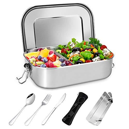Gifort Fiambrera de Acero Inoxidable, Lunch Box Premium 1400ml con Divisor Extraíble y 3 Cubiertos, sin Plástico y BPA - Microondas y Lavavajillas - Contenedores De Almuerzo para Niños y Adultos