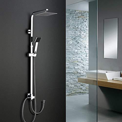 Duschsystem Regendusche ohne Armatur, WOOHSE Duschsäule verstellbar mit Überkopfduschkopf und Handbrause, Höhenverstellbar Brausestange für Badezimmer Dusche