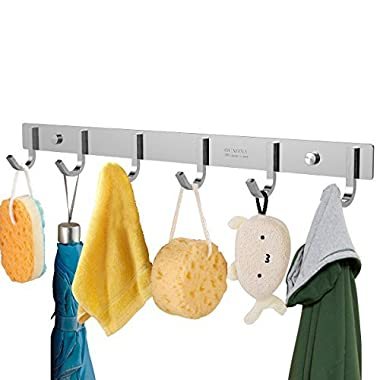 OUNONA Wall Coat Rack Coat Hooks Wall Mounted Stainless Steel Hook Rack for Clothes(6 Hooks)