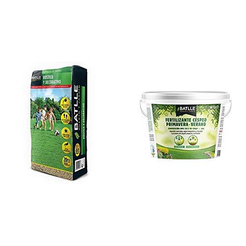 Semillas de Césped - Césped Rústico y Decorativo 20Kg - Batlle + Abonos - Fertilizante Cesped Primavera-Verano Cubo 5kg - Batlle