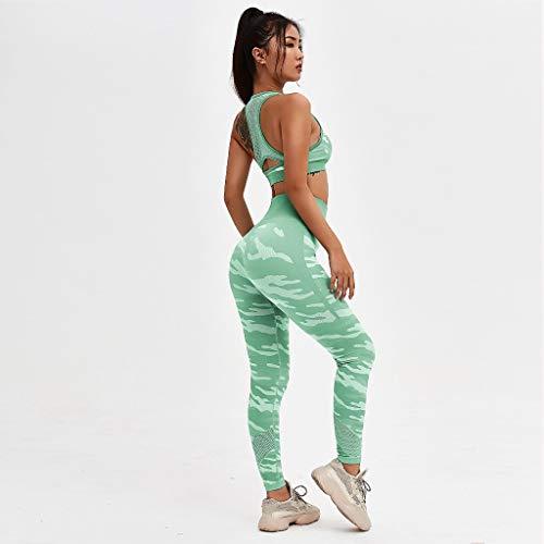 JFTMY Tarn-Yoga-Set Laufender Anzug Trainingskleidung für Frauen Mesh Yoga Bra Sport Leggings Laufende Anzug (Size : Large)