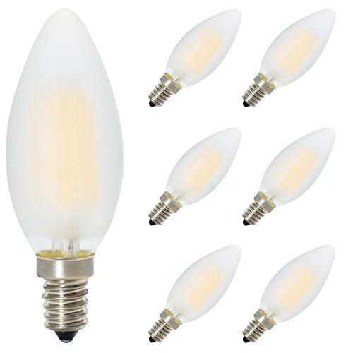 6er-Pack E14 Dimmbar LED Kerzenform Ersetzt 40W Glühlampen,Warmweiss 2700K, C35 4W, Matt Glas,360º Abstrahlwinkel LED Birnen, LED Kerzenlampen, LED Kerzenleuchten, LED Leuchtmitte
