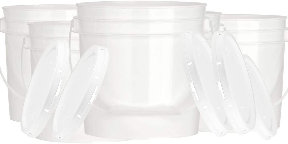House Naturals 1 Gallon Food Grade BPA Free Bucket Container with Lids ( Pack of 5) Made in USA (5, White)