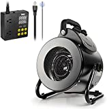 iPower Electric Heater Fan with Digital Cooling Thermostat Controller for Greenhouse, Grow Tent, Workplace, Overheat Protection, Fast Heating, Spraywater Proof IPX4, Black