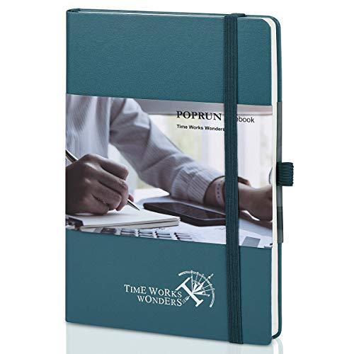 POPRUN Cuaderno Punteado Bullet Journal A5 de Tapa Dura - Libreta Puntos con 3 Índice y 235 Páginas Numeradas, Bucle de Lápiz y Bolsillo, Verde Pacífico