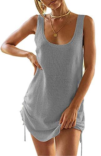 ZIYYOOHY Damen Crochet Stricken Rückenfrei Bikini Cover Up Strandkleid Strandponcho Sommerkleid (Grau, M)