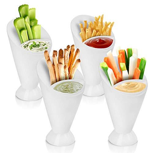 Oramics 2 in 1 Snackschale Pommesschale mit herausnehmbarer Dip Schüssel – aus Kunststoff, spülmaschinenfest – zum Servieren von Snacks mit Dips oder Pommes, Fingerfoodhalter (8 Stück)
