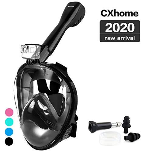 CXhome Volledige Gezicht Snorkel Masker, 180° Panoramisch Uitzicht Duikmasker met Verstelbare Strips en Afneembare Camera Mount Anti-Fog Anti-Lek Snorkeling Masker Set voor Volwassenen en Kinderen
