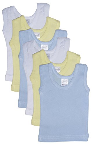 bambini Baby Boys Girls Unisex 6-Pack Sleeveless T-Shirts Tanks, White, Yellow, Blue, Large 27-34 Lbs
