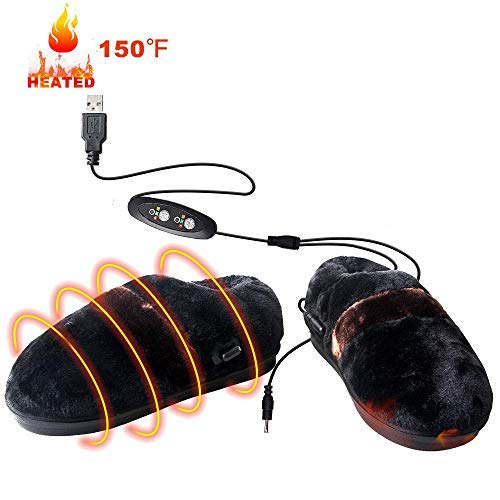 BIAL USB Electric Heated Slippers Shoes Suitable for Size 5-11 of Men's Feet and Size 4.5-13 of Women's Feet,Heated Cold Weather Time and Temperature Control Memory Foam Slippers to Keep Feet Warm