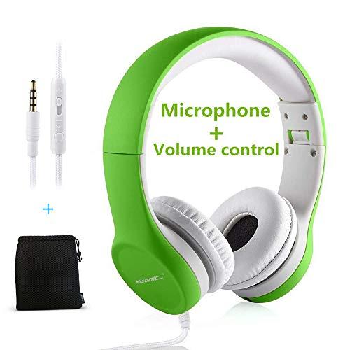 Kopfhörer für Kinder, Hisonic Leicht kopfhörer Kinder Kopfhörer mit Laustärkebegrenzung auch Mikrofon Verstellbare Kinder Erwachsene Headset für Jungen und mädchen ab 3 Jahre (Grün)