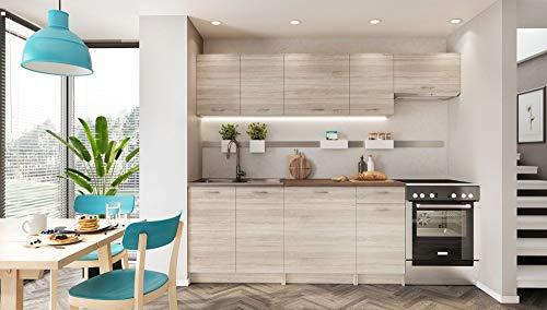 Muebles de Cocina Completa, 240 cms, Color Madera, Modulos cocinas ref-17