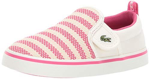 Lacoste Girls' Gazon Sneaker, Off White/Dark Pink, 10. Medium US Toddler