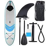SALUTUYA con Bolsa de Almacenamiento Tabla de Surf Inflable de PVC, para Yoga acuático para Principiantes para deslizarse en Agua Blanda(Blue (305 * 76 * 15cm))
