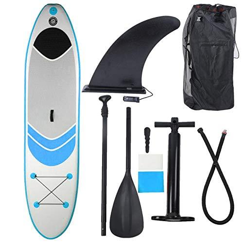 DAUERHAFT Estructura de Capa de Costura con Tabla de Surf con asa de Seguridad para Que los Principiantes se deslicen en Agua Blanda, para Pescar(Blue (305 * 76 * 15cm))