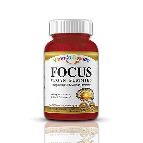 Vitamin Friends Focus Brain Health PS (Phosphatidylserine) Gummy Supplements - 60 Berry Flavored Gummies, Kosher, Allergen Free, Vegan
