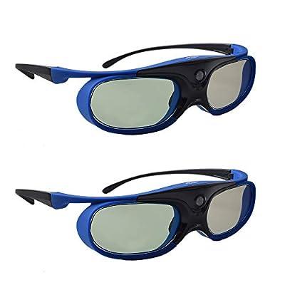 TOUMEI 3D Glasses, Active Shutter 3D DLP Link Rechargeable 3D Eyewear for Acer ViewSonic BenQ Optoma Philips Panasonic Vivitek Dell Jmgo Cocar Toumei 3D Projectors - Blue Pack of 2