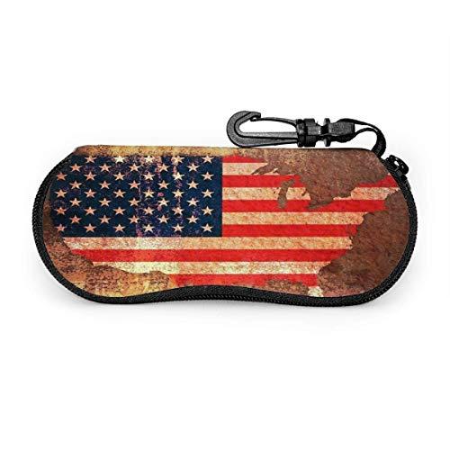 Just life Estuche para anteojos Bandera de EE. UU. Rayas de estrellas Mapa americano Estuche para gafas Estuche para gafas de sol de viaje portátil Soporte para gafas protectoras