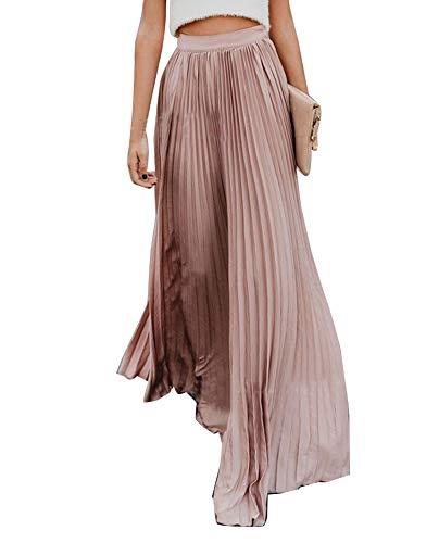 Falda Larga de Estilo Bohemia de Cintura Alta para Mujer Plisada Falda Maxi Pink L