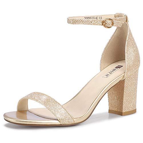 IDIFU Cookie-MI Block Heels 3 Inch Sandals Chunky Open Toe Heel Wedding Homecoming Dress Shoes For Women Brides Ladies (Gold Glitter  7.5 B(M) US)