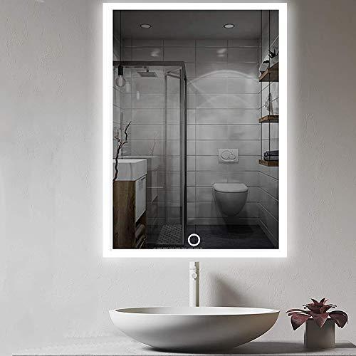 LED Badezimmer-Spiegel - 50x70cm Wandspiegel Badezimmerspiegel mit Berührung Sensorschalter Weißes/Warmweiß/Warmes Licht, Vertikale oder horizontale Aufhängung