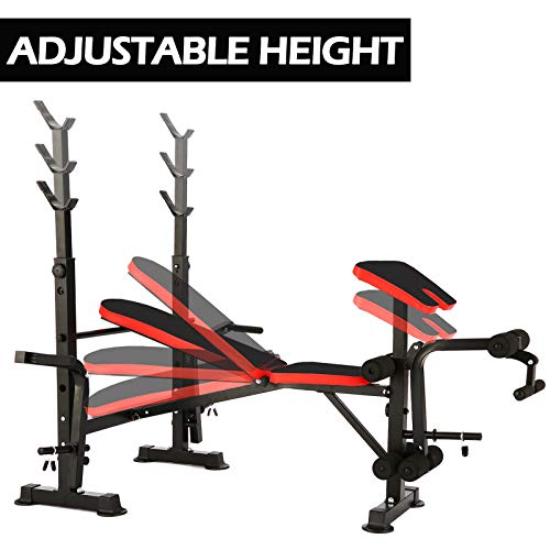 elifine Folding Adjustable Olympic Weight Bench Power Tower Workout Dip Station with Preacher Curl Leg Developer Multi-Functional Weight Bench Set for Indoor Gym Home Fitness Exercise (Black Red)