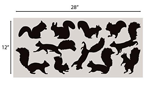 Innovative Schablonen Eichhörnchen Wandaufkleber Set Kinderzimmer Aufkleber Set Add to Tree Wall Decals Decor for Kids Rooms #1250 (12 Eichhörnchen-Aufkleber inklusive) Matte Black